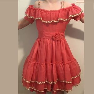 Vintage Girls Pageant Dress Pink Ruffles 6 7 8